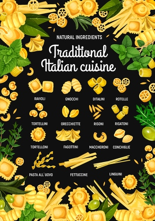 Italian pasta restaurant menu. Vector traditional Italy cuisine pasta food ravioli, gnocchi or ditalini and rotelle, cooking spices and herbs with conchiglie, tortellini or tortelloni and fettuccine