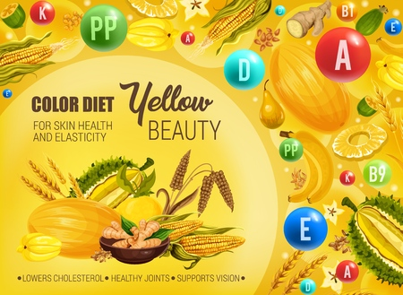 Color diet healthy nutrition, yellow food vitamins and minerals. Vector natural organic fruits, cereals and spices of yellow color diet for skin beauty, low cholesterol and healthy joints Çizim