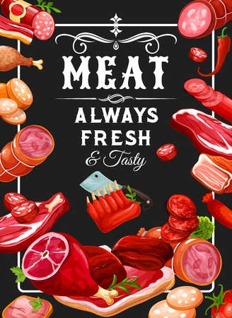 Butchery meat and grocery sausages, meaty products. Vector smoked veal, mutton ribs or butcher shop gourmet gastronomy pork ham and beef steak, meat brisket and chicken leg or liver and chorizo Illustration