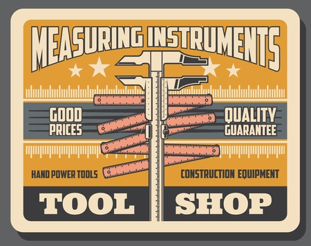 Construction, handy repair and industrial measure tools and equipment shop poster. Vector measuring tape calipers and engineering measuring trammel, premium star quality Illustration