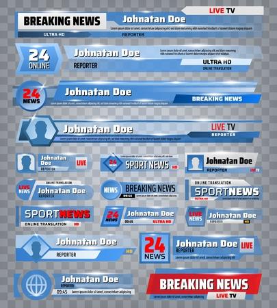 Sport e ultime notizie Fondali TV e caselle della barra del titolo dell'intestazione. Banner sullo schermo del canale televisivo di notizie sportive vettoriali con nomi, punteggi della coppa del campionato mondiale, tempo e trasmissione di reporter dal vivo