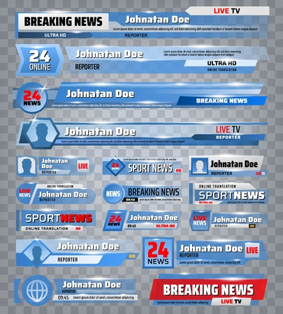 Sport and breaking news TV backdrops and header title bar boxes. Vector sport news television channel screen banners with names, world championship cup scores, time and live reporter broadcast
