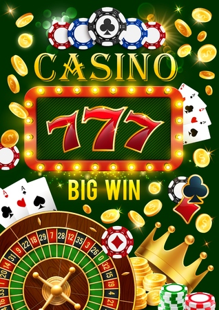 Casino wheel of fortune, poker cards and lucky seven jackpot win. Vector gamble game roulette, dice and poker token chips with golden coins splash in casino retro light bulb signage Stock Illustratie