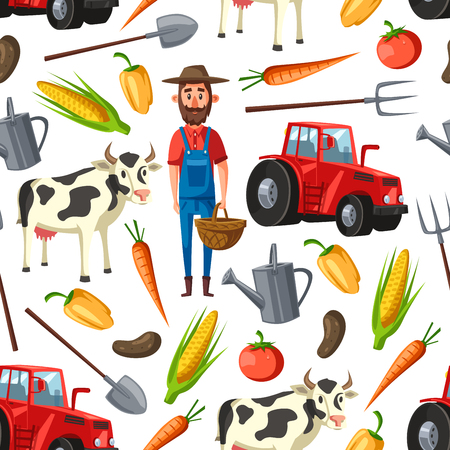 Farming and agriculture seamless pattern. Vector background of farmer agronomist, cattle farm cow or harvesting tractor and corn or carrot vegetables harvest and farm pitchfork pattern Stock Illustratie