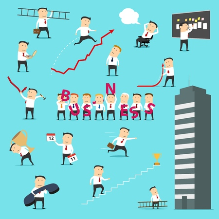 Businessman icons, business situations concept. Vector director or manager man with business letters, success achievement cup, calendar or growth chart arrow and development compass on career ladder Ilustração