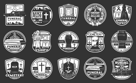 Funeral service agency and cremation burial icons. Vector columbarium urn, RIP ribbon and cross at tombstone, funeral wreath and hearth catafalque car with coffin and flowers bunch