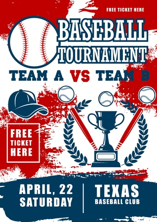 Baseball sport poster, sport championship cup. Baseball fan club, college or university team tournament, bat and ball with player cap, victory laurel and ribbon Illustration