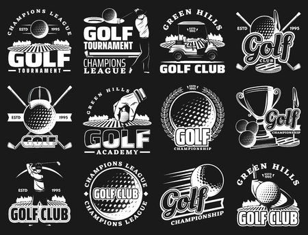 Golf sport club and championship or league tournament icons. Vector golf team academy badges of ball and stick, putter green and victory champion cup, tee and caddy cart Stock Illustratie