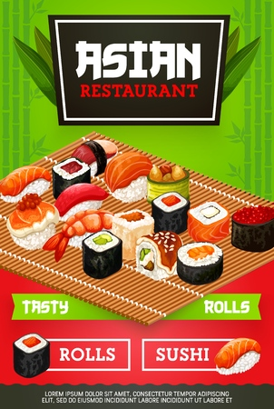 Japanese sushi bar menu cover with maki rolls, wasabi or ginger and chopsticks. Japan Asian cuisine restaurant and cafe delivery, salmon or squid and gunkan or hosomaki seafood sushi