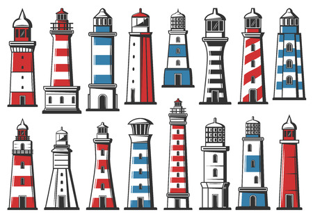 Nautical lighthouse icons, seafarer marine safety sailing light beacon buildings. Vector sea navigator beacon towers architecture with signal light beams