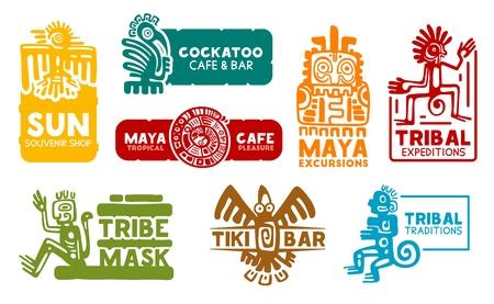 Iconos de identidad corporativa empresarial maya y azteca. Vector símbolos mayas y aztecas, tienda de souvenirs o bar cafetería de comida y agencia de excursiones de viaje histórico de México