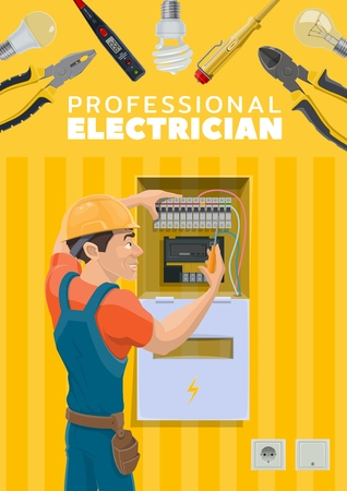 Electrician or electric repairman profession and electricity repair tools. Vector electric power wires and energy cables in switcher,voltage tester tool, electrician man electric socket and voltmeter Standard-Bild - 121650967