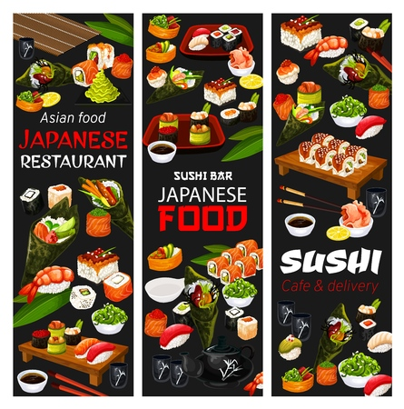 Japanese sushi restaurant and Asian cafe delivery menu. Vector Japan cuisine bar sushi and maki rolls, wasabi, ginger and soy sauce, rice with chopsticks and tea pot with cups and salmon sashimi