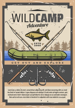 Fishing adventure and fisher sport wild camp poster. Vector fisherman equipment for fish catch, fishing rod or spinning with hook, boat and tackles, rubber inflatable boat and river or sea carp