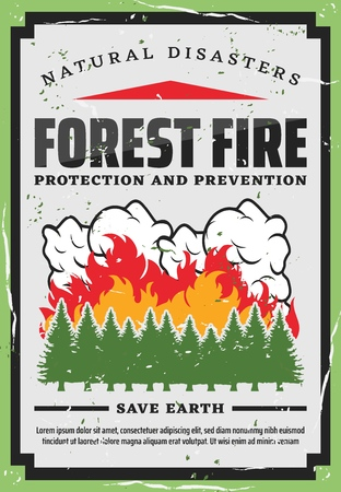 Forest fire fighting, nature protection and wildfire prevention retro poster. Vector natural disaster fire burning trees in woodlands, save earth and planet firefighting warning