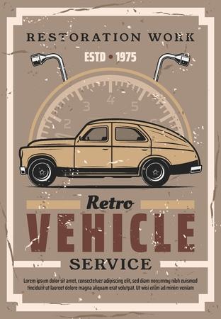 Estación de servicio y restauración de vehículos retro. Cartel de grunge vintage vector de coche viejo, velocímetro y llave de tuercas, reemplazo de neumáticos y ruedas y servicio de diagnóstico Ilustración de vector