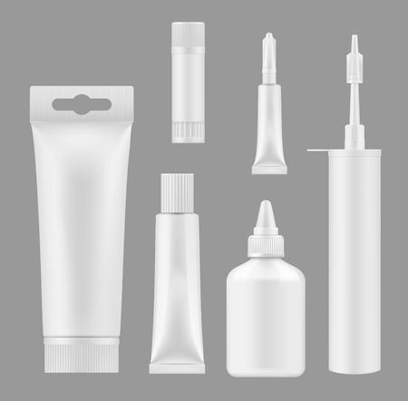Tubes de colle et récipients d'étanchéité Maquettes vierges blanches 3D. Modèles isolés vectoriels cartouche de mousse de calfeutrage en silicone et emballages de bouteilles ou de bâtons de colle adhésive