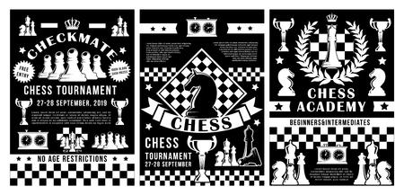 Schachsportturnier-, Akademie- oder Vereinsmeisterschafts-Pokalplakate. Vektorschachfiguren in Schachmatt-Strategie auf Schachbrett mit Spielstandsuhr und Königskrone oder Siegeslorbeer