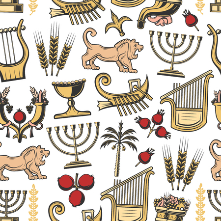 Israel seamless pattern of traditional Jewish symbols. Vector background of Hanukah Menorah candles, cornucopia with pomegranate and Judah lion, harp music instrument and Hebrew ship pattern Foto de archivo - 122941652