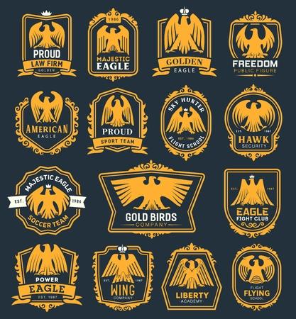 Icônes héraldiques d'aigle royal, oiseau faucon héraldique avec insignes de couronne et de ruban. Vector premium Fight Club, équipe de football ou académie de la liberté et cabinet d'avocats ou symboles d'identité d'entreprise de l'école de pilotage Vecteurs