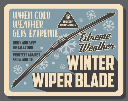 Car winter wiper blades, auto service center vintage poster. Vector vehicle windshield scrapers, automotive spare parts and accessories shop or mechanic garage station