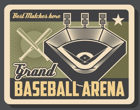 Baseball sport grand arena vintage poster, tournament match cup game. Vector baseball or softball sport league championship stadium, player bat and ball with victory star Illustration