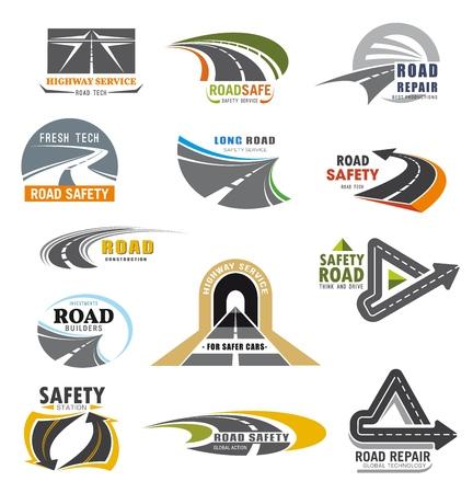 Iconos de servicio de seguridad de comunicaciones de transporte y empresa de construcción de carreteras. Servicio de reparación de carreteras de vector, túneles de automóviles y carreteras o vehículos construyendo una alianza de construcción global
