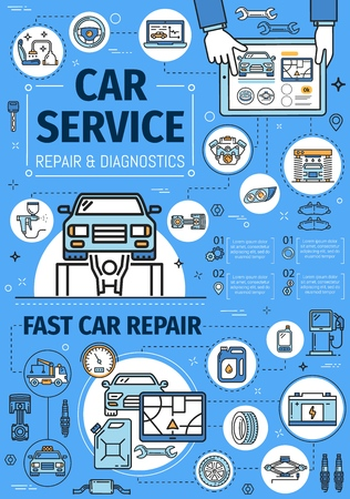 Auto diagnostic and repair service center. Vector thin line poster, transport tow truck, tire fitting and oil change service station, automobile washing and engine restoration garage