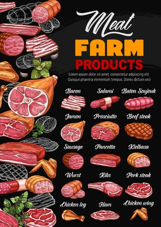 Butcher shop meat and sausages menu price. Vector farm butchery bacon, salami sausage and soujouk baton, jamon or prosciutto and beef steak, mutton ribs and gourmet smoked pork ham Illustration