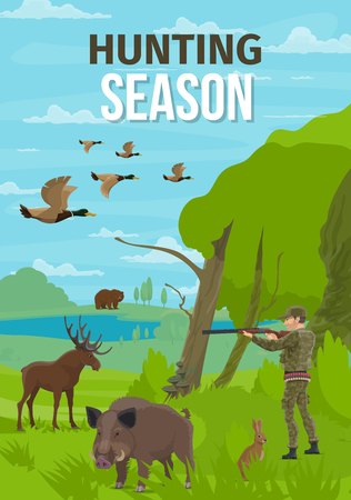Hunting club open season, Hunter with rifle on forest hunt for wild animals. Vector hunt prey trophy bear, elk or boar and hare with ducks fowl, hunter bullet cartridge belt bandolier, ammo equipment