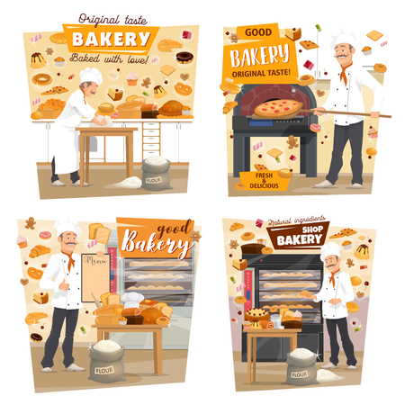 Baked bread and pastry at baker shop. Vector baker man profession, baking pizza and baguettes of wheat flour in oven with patisserie sweet desserts and cakes at kitchen