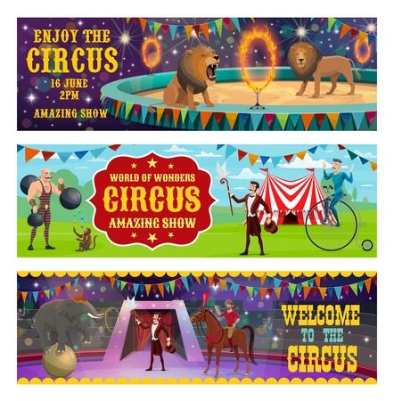 Gran espectáculo de entretenimiento de circo retro vintage banners. Domador de circo de vector con animales leones y elefantes balanceándose y saltando en el anillo de fuego, musculoso y ilusionista o jinete en la arena