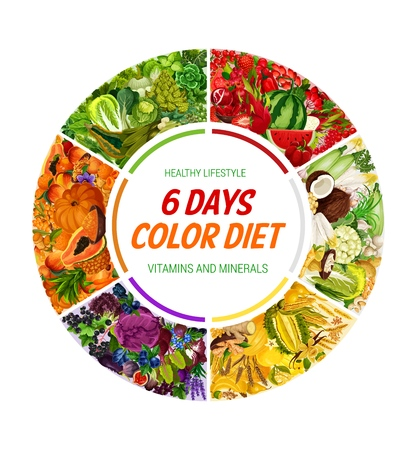 Color diet, healthy food eating organic vegetables and fruits. Vector health lifestyle 6 days rainbow color diet of natural organic salads, nuts or berries and cereals with vitamins and minerals