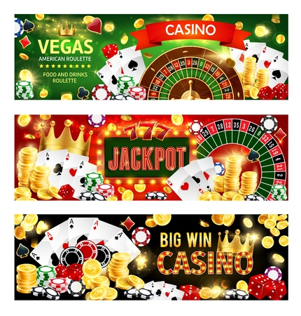 Casino gambling games, wheel of fortune roulette, poker dices and playing cards. Vector casino banners with gold coins big win cash splash, victory golden crown and poker joker cards Illustration