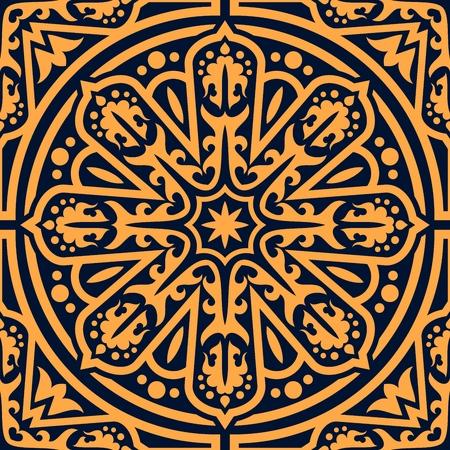 Patrón sin fisuras de ornamento oriental árabe. Fondo de vector de adorno florecer árabe, abstracto arabesco oriental o marroquí ornamentado mosaico florido patrón antiguo en círculo
