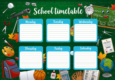 School timetable, whole week schedule and stationery educational supplies. Vector planner or organizer to make notes about lessons. Backpack and basketball ball, spyglass and magnifier, chalkboard