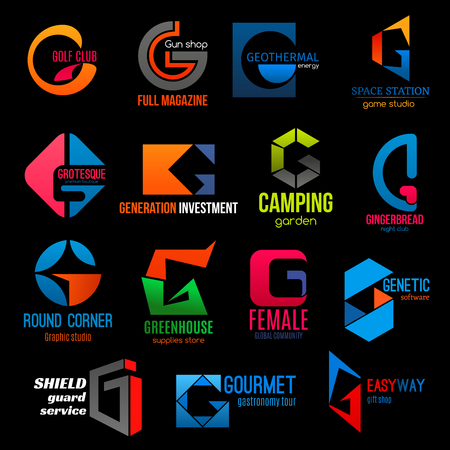 Letter G icons of game and graphic design studio, sport golf club badge and gift shop. Vector corporate identity G symbols of software technology and guard service or gun shop and female community 일러스트