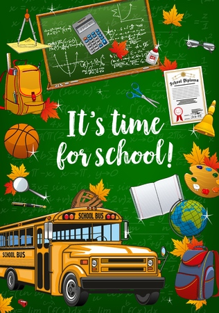 Time to school lettering, chalkboard with formulas and graphs. Vector yellow bus, backpacks and open textbook. Graduation diploma and basketball ball, teacher glasses, first lesson bell, calculator