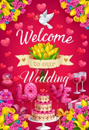 Welcome to our wedding, invitation on marriage party. Vector flower bouquets, flying dove and hearts. Holiday cake with berries, balloons love letters, glasses of wine, engagement ring with diamond Banque d'images - 122941745