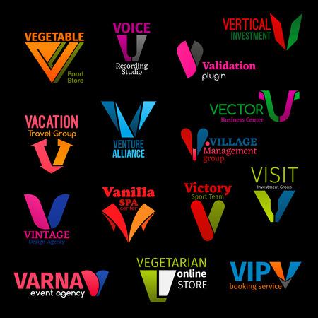 Icone della lettera V di identità aziendale e simboli della società di affari. Vector V di studio di registrazione vocale, agenzia di viaggi o gruppo commerciale di investimento e negozio online vegetariano Vettoriali