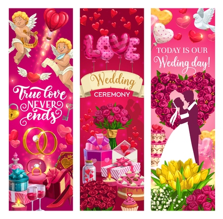 Bride and groom on wedding ceremony, true love never ends quote. Vector marriage holiday, love symbols cupids, rings and hearts. Flower bouquets, engagement fest and gifts, flying doves, man and woman  イラスト・ベクター素材