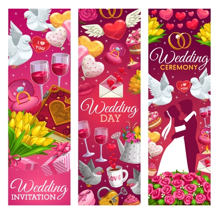 Wedding day invitation calligraphy, marriage ceremony banners. Vector bride and bridegroom with wedding ring, doves with Save the Date love message and heart balloons, roses flowers and gifts