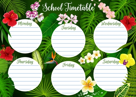 School timetable, student classes week schedule on tropical exotic leaf and floral pattern background. Vector school timetable template with green tropic palm leaf and exotic flowers Çizim