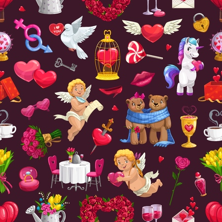Wedding ceremony, marriage day symbols on seamless pattern. Vector lovely couple of bears, served dining table, dove with Valentines greetings and cupids. Love and hearts, flower bouquets, unicorn Vettoriali