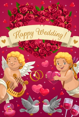 Happy Wedding, marriage party greeting calligraphy and cupid angels with hearts and flowers. Vector pink poster with wedding rings, dove birds in love and roses flowers hear wreath