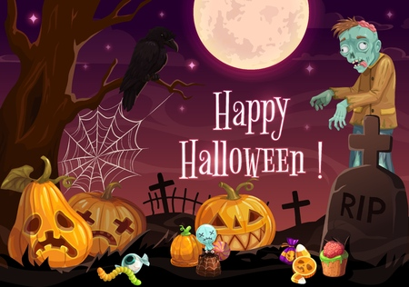 Halloween cemetery with zombie and pumpkins vector design. Horror night graveyard, living dead and lantern monsters, Halloween treats, spider net and full moon, gravestones and crow, greeting card