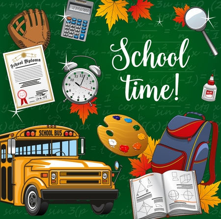 School time, 1 September back to school stationery supplies and means of education. Vector lettering formulas and yellow bus, calculator and pupils backpack, autumn leaves and magnifier, open textbook