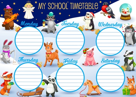My school timetable with winter cartoon characters on snowy landscape. Vector bear with candy, angel and penguin, rabbit and fox, deer and toy horse. Squirrel and hedgehog, panda with badger