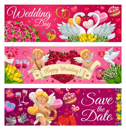 Wedding day and save the date congrats, happy engagement symbols of love. Vector couple of swans and doves, naked cupids and glasses of wine and cakes. Roses, tulips, lily of the valley flowers