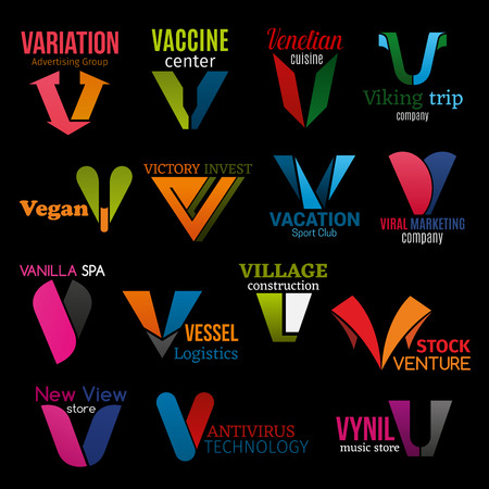Corporate identity V icons, company corporate identity symbols and brand signs. Vector letter V advertising agency, medical vaccine center or Venetian cuisine restaurant and construction corporation Vettoriali